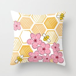 Cherry Blossom Bees Throw Pillow