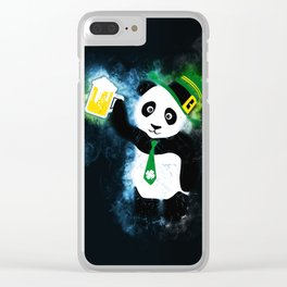 Patrick the Panda in Black Grunge Background Clear iPhone Case