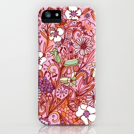 Daisy and Bellflower pattern, pink iPhone Case