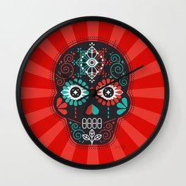 Día de Muertos Calavera • Mexican Sugar Skull – Black & Turquoise on Red Starburst Wall Clock