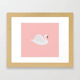 white swan on pink Framed Art Print