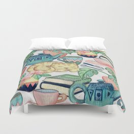 Lazy Afternoon - a chalk pastel illustration pattern Duvet Cover