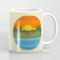 camping Mugs featuring Camping by Becky Gibson