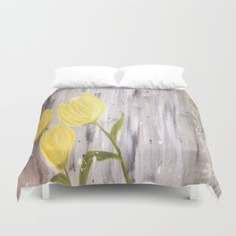 Yellow Tulips in Grey Duvet Cover
