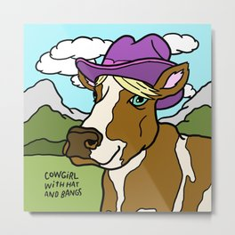 Cowgirl with Hat and Bangs Metal Print