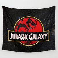 jurassic park Wall Tapestries featuring Jurassic Galaxy by Ryan Hill