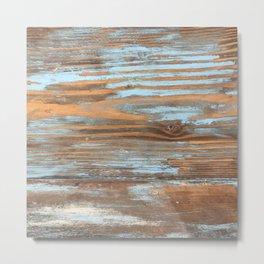 Vintage Wood With Color Splashes Metal Print