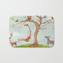 Tree with animals.Bunch of cute little creatures gathered on the branches of tree Bath Mat