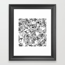 Hand drawn roses pattern Framed Art Print
