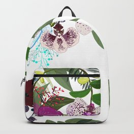 Orchid and Cosmos Flower. Botanical Floral Pattern Backpack