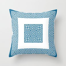 Greek Key blue Throw Pillow