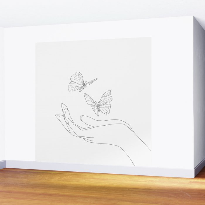 Butterflies on the Palm of the Hand Wall Mural