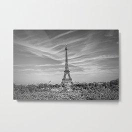 PARIS Eiffel Tower with skyline   monochrome Metal Print