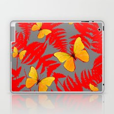 Red Fern Fronds With Yellow Butterflies & Grey Color Laptop & iPad Skin