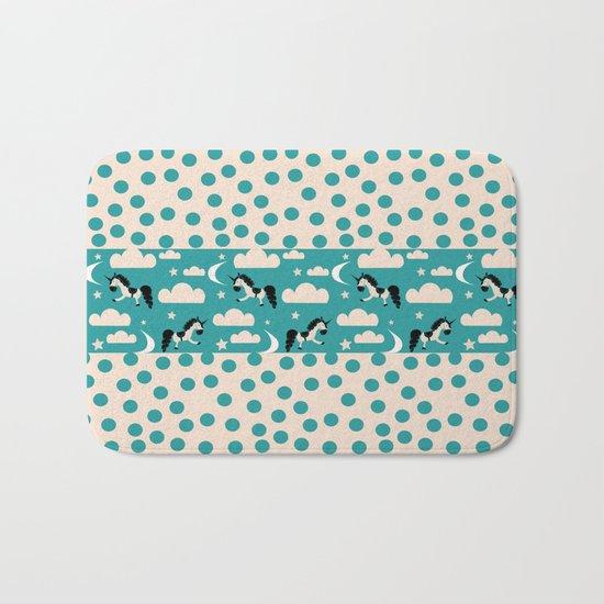 Unicorn Teal patchwork Bath Mat