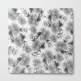 Modern gray white watercolor elegant floral Metal Print