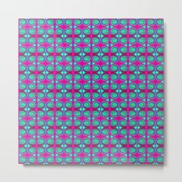 Colorful Pink Turquoise Swirl Pattern Metal Print