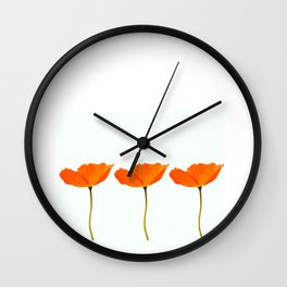 Three Orange Poppy Flowers White Background #decor #society6 #buyart Wall Clock
