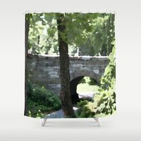 central park Shower Curtains featuring Central Park in Summer by T. Peters