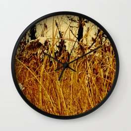 Snow covered pond reeds Wall Clock
