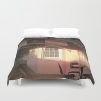 cafe Duvet Covers featuring Station Cafe by Glenn Designs