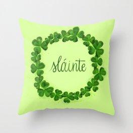 Slainte Clover Wreath Throw Pillow