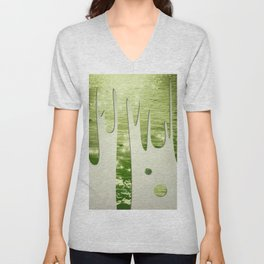 Glittery Green Ocean Dripping On Cream Textured Wall Unisex V-Neck