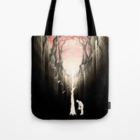 forest Tote Bags featuring Revenge of the nature II: growing red forest above the city. by Rafapasta