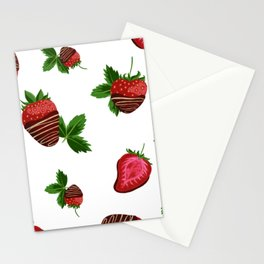 Chocolate Covered Strawberries - Milk Background Stationery Cards