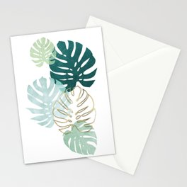 Tropical minimal / green, turquoise and gold monstera Stationery Cards