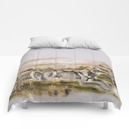 Totem wolf Sunset Comforters