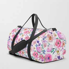Lilac pink lavender hand painted watercolor roses floral Duffle Bag