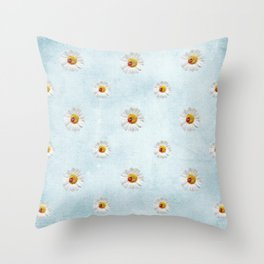 Daisies in love- blue pattern Throw Pillow