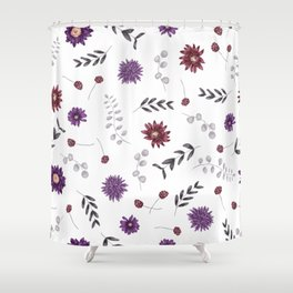 Purple Fall Flower Print Shower Curtain