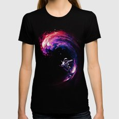 Space Surfing Womens Fitted Tee Black MEDIUM