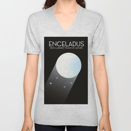 Enceladus Saturn moon Space Art. Unisex V-Neck