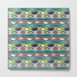 Deviled Eggs Teal Metal Print