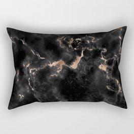 Rose Gold and Black Marble Rectangular Pillow