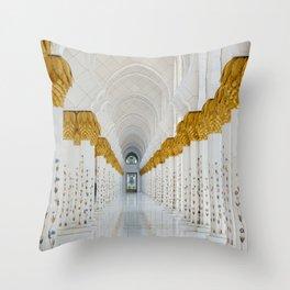 Down the golden white Throw Pillow
