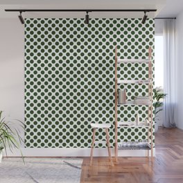 Large Dark Forest Green Polka Dot Spots on White Wall Mural