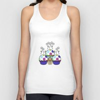 polkadot Tank Tops featuring Cute Monster With Pink And Blue Polkadot Cupcakes by Mydeas