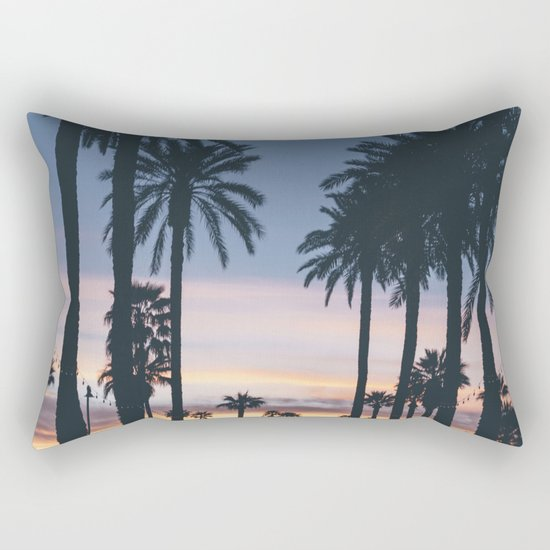 Sunset in the City (Hawaii Tropical Palm Trees) Rectangular Pillow