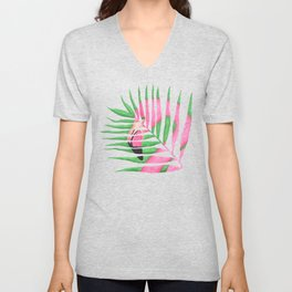 Pink Flamingo Palm Leaf Unisex V-Neck