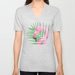 Pink Flamingo Palm Leaf Unisex V-Neck