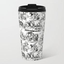 Alice in Wonderland | Toile de Jouy | Black and White Metal Travel Mug