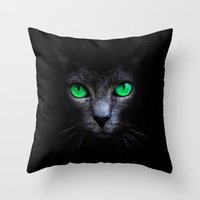 black cat Throw Pillows featuring Black Cat by Sitchko Igor