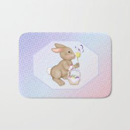 Brown Bunny and Basket Bath Mat