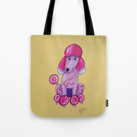poodle Tote Bags featuring poodle by K.ForstnerArt