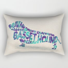 Basset Hound Typography Art / Watercolor Painting Rectangular Pillow