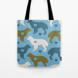 Valentine's dog surface pattern (green-blue) Tote Bag